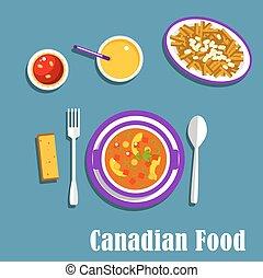 cocina, cena, bebidas, platos, canadiense