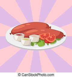cocina, cerdo, carne, humo, ilustración, salsade tomate, cena del almuerzo, vector, salchichas, secado, delicioso, plato, barbacoa, comida