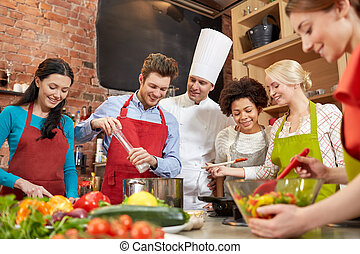 cocina, chef, cocinero, cocina, amigos, feliz