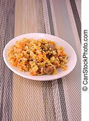 cocina china, -, arroz frito, con, vegetales, y, carne