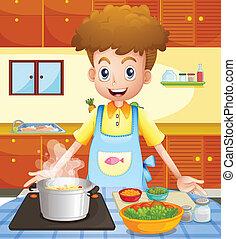 cocina, cocina, hombre