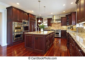cocina, con, cereza, madera, cabinetry