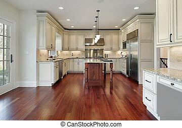 cocina, con, cereza, piso de madera