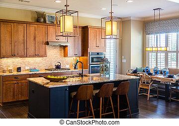 cocina, con, granito, y, moderno, accesorios