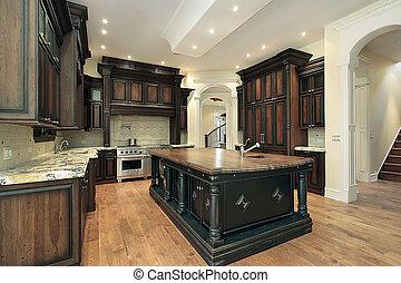 cocina, con, oscuridad, cabinetry
