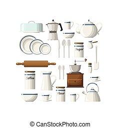 cocina, conjunto, utensilios
