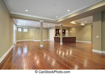 cocina, construcción casera, nuevo, sótano