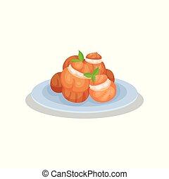 cocina, delicioso, eclairs, ilustración, vector, francés,...