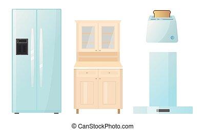cocina, diferente, tipos, appliences, vector, ilustración, ...
