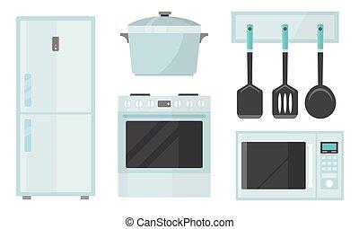 cocina, diferente, vector, appliences, utensilio, ...