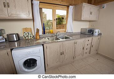 Muebles, cocina, lujo, beige. Cocina, beige, lujo, horizontal ...