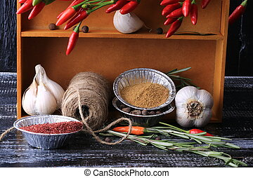 cocina, especias, en, un, caja, en, el, viejo, de madera, plano de fondo, rústico, estilo
