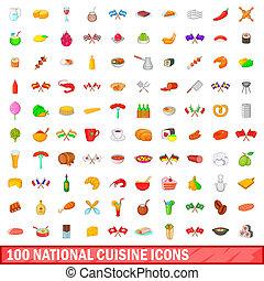 cocina, estilo, iconos, Conjunto, nacional,  100, caricatura