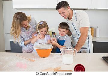 cocina, galletas, mostrador, preparando, familia
