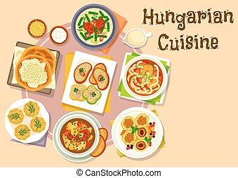 cocina, húngaro, menú, nacional, diseño, icono
