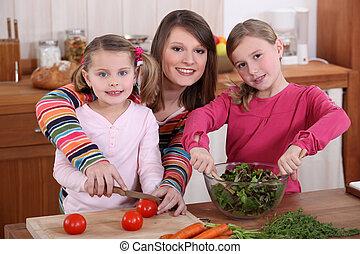 cocina, hijas, juntos, madre