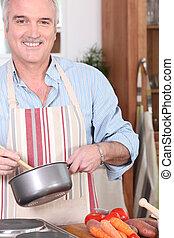 cocina, hombre anciano