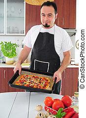 cocina, hombre, joven, casero, pizza