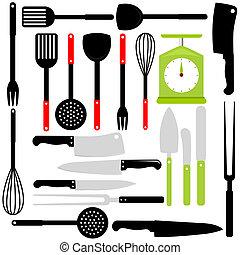 cocina, hornada, cuchillos, utensilio