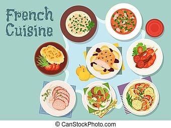 cocina, icono, diseño, francés, restaurante