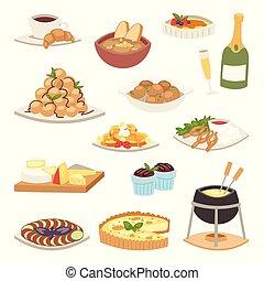 cocina, illustration., placa, almuerzo, gastrónomo, sano,...