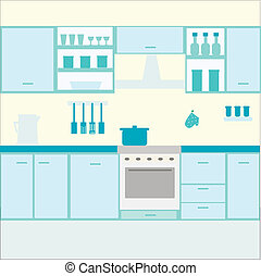 cocina, ilustración, muebles