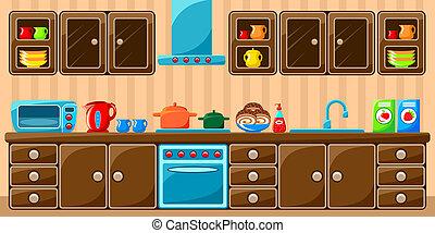 cocina, interior.