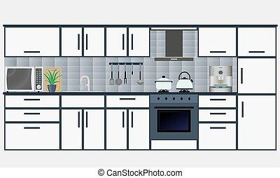 Interior, cocina, muebles. Opacidad, sombras, utilizado, eps10 ...