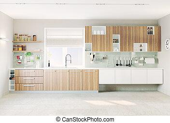 cocina, interior, moderno