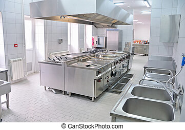 cocina, interior, profesional