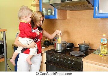 cocina, madre, niño