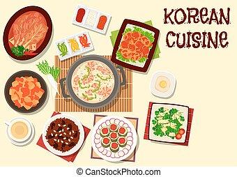 cocina, menú restaurante, diseño, coreano, icono