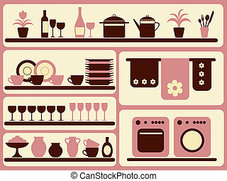 cocina, mercancía, y, hogar, objetos, set.