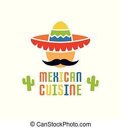 cocina mexicana, vector, logotipo, plantilla, aislado