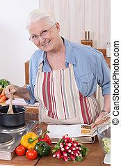cocina, mujer, receta, ayuda, anciano