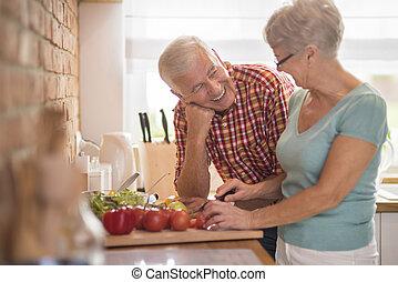 cocina, mujer, y, ella, alegre, marido
