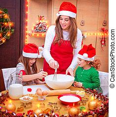 cocina, navidad, familia , feliz