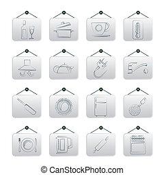 cocina, objetos, iconos