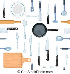 cocina, patrón, herramientas, seamless