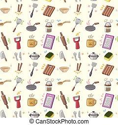 cocina, patrón, seamless