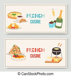 cocina, plato., delicioso, queso, alimento, set., dos, ...