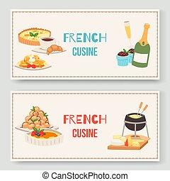 cocina, plato., delicioso, queso, alimento, set., dos,...