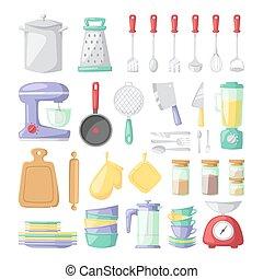 cocina, platos, vector, plano, iconos, aislado, blanco, plano de fondo
