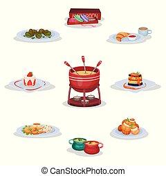 cocina, ratatouille, sopa, cebolla, queso, conjunto,...