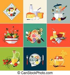 cocina, restaurante, y, alimento vegetariano