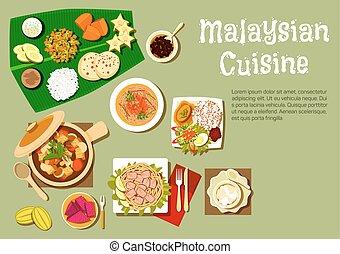 cocina, sabroso, malaysian, platos, postres
