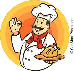 cocina, señal, chef, delicioso, pollo, frito