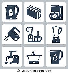 cocina, vector, conjunto, aparatos, iconos