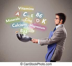 cocina, vitaminas, hombre, minerales