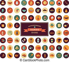 cocina, y, backing, plano, iconos, batería de cocina, elementos